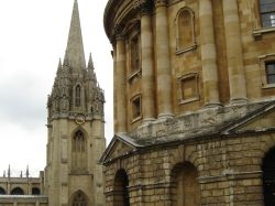 Bodleian Library foreground and the University Church of St. Mary the Virgin, Oxford