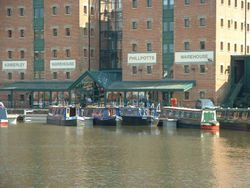 Narrow boats moored up at Gloucester docks.
