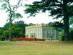 The Orangery, Belton House, Belton, Lincolnshire. The Orangery seen from across the lawns.