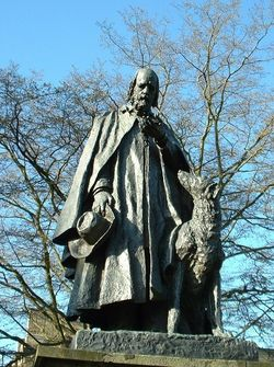 Tennyson statue, Cathedral Green, Lincoln. One of the only two large public statues in Lincoln.