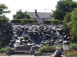 A small waterfall on the Cleethorpes Seafront