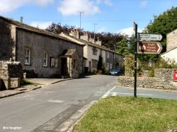 The centre of Malham in N.Yorkshire