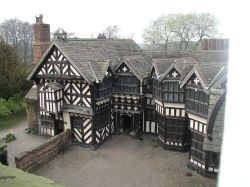 Overhead view of the courtyard at Little Moreton Hall
