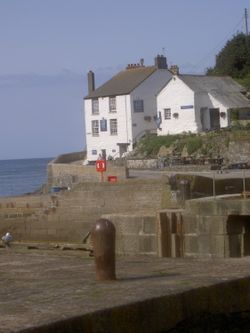 The Ship Inn at the harbour entrance, Porthleven in South Cornwall