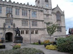 The library at Shrewsbury with the statue of Charles Darwin