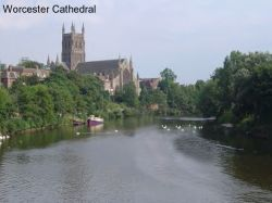 Worcester Cathedral and the river Severn as seen from the main road bridge in Worcester, England.