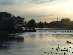 The River Aire running through Castleford, the picture was taken from the road bridge.