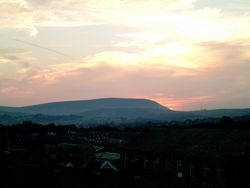 Pendle Hill at sunset taken from the top of Colne