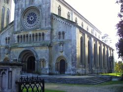 This view shows the side of St Mary and St Nicholas Church, Wilton, Wiltshire, England
