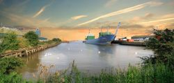 This is a photo of New Holland dock. New Holland is a small town in north Lincolnshire.
