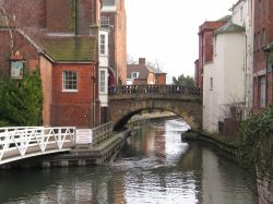 Newbury, Berkshire. Bridge in town centre, over Kennet & Avon Canal
