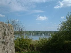 Carsington waters, Ashbourne, Derbyshire. Looking over waters from island point