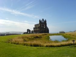 Whitby Abbey with lake in foreground. - August 2005