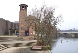 The Old Silk Mill Museum and the River Derwent, Derby
