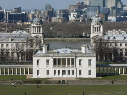 The famous view of The Queen's House and Royal Naval College from Greenwich Park, London
