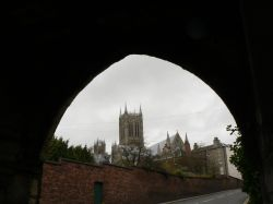 Lincoln Cathedral from the arch at Pottergate.