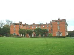 Staunton Harold Hall, taken from woodlands, next to church.