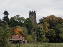 Kingsbury church from Kingsbury Water Park, Warwickshire