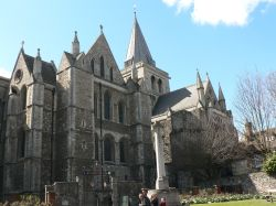 North side of Rochester Cathedral from the high street.