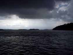 A stormy afternoon approaching Brownsea Island, Dorset