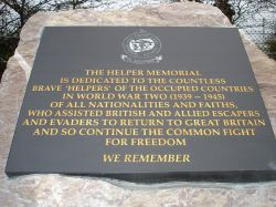 The inscription on the Helper Memorial at, Eden Camp, Malton, North Yorkshire.