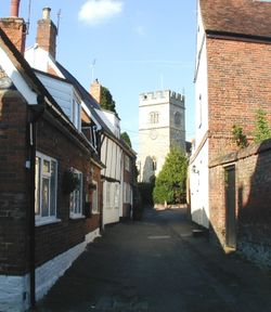 Winslow, Buckinghamshire.  Church Street and St. Laurence Church