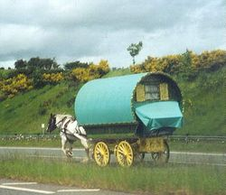 Traveler carvan on A66 near Appleby in Westmoorland, Cumbria.