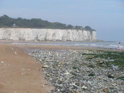 This is the chalk cliff on a side beach in Broadstairs, Kent, in Sept. of 2005