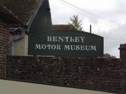 Sign for the Bentley Motor Museum.