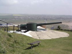 An artillary gun located at the Newhaven Fort, Newhaven, East Sussex.