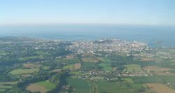 St Helier, capital of Jersey, Channel Islands from the air