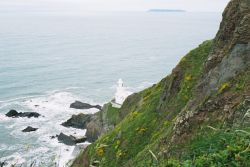 Hartland Point, Devon, with Lundy Island in the distance (May 06)