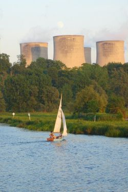 Boating on the River Trent near Trent Lock, Long Eaton, Derbyshire