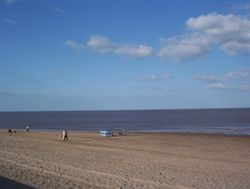 Sutton on Sea,  Lincolnshire. A view of the beach from the promenade. - Taken April 2006