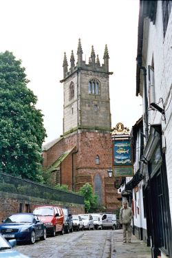 Shrewsbury, Shropshire. Fish Street & St Julian`s Church