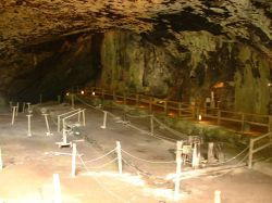 Inside the entrance to Peak Cavern Cave, in Castleton, Derbyshire