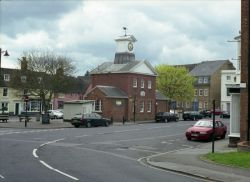 Potton town square. The library clock tower.