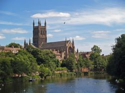 Worcester Cathedral & the river Severn, Worcester.