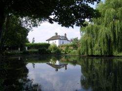 View of the pond of the lovely village of Somerleyton, close to Lowestoft, Suffolk.