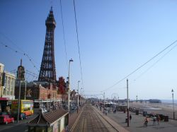 View of Blackpool Tower from the top of an open top tram, waiting at North Pier tram stop.