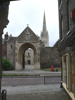 The West gate entrance to Norwich Cathedral