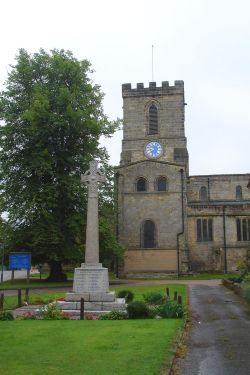 The War memorial and Parish Church at Melbourne, Derbyshire