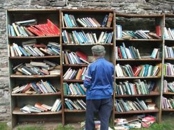 The open book stall inside the walls of Hay-on-Wye Castle. Hay-on-Wye