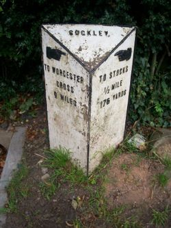 Cast-iron milestone with pointing hands at Suckley, Worcestershire