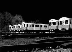 Trains stabled at Upminster underground train depot at about 4.00am. Essex. in the early 1980s.