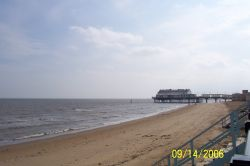 Pier at Cleethorpes, in over cast conditions in September.