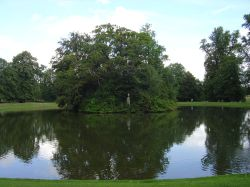 The lake and island of Althorp House near Northampton, Northamptonshire
