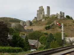 Corfe Castle, in Dorset. View from the station on 9 September 2006
