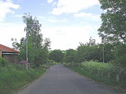 Country lane leading to Babbington Village in Nottinghamshire
