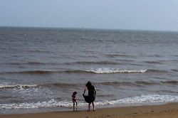 Getting wet in the sea Cleethorpes, Lincolnshire